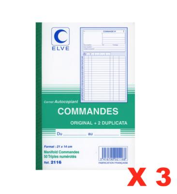 ELVE CARNET AUTOCOPIANT COMMANDES ORIGINAL + 2 DUPLICATA 3416790021168 STORE SHOP OFFICE ORDER COMASOUND KARTEL