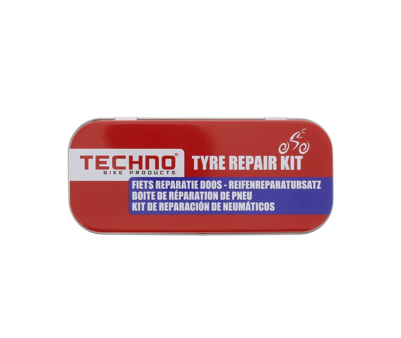 BOITE DE REPARATION DE PNEU TECHNO BIKE PRODUCTS VELO MOTO SCOOTER TYRE REPAIR KIT SET PACK 8710259011260 COMASOUND KARTEL CSK ONLINE