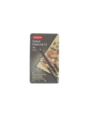 DERWENT TINTED CHARCOAL 12 CRAYON COULEUR ART BOITE METAL ARTISTE DESSIN DRAW 5028252225342 COMASOUND KARTEL CSK ONLINE