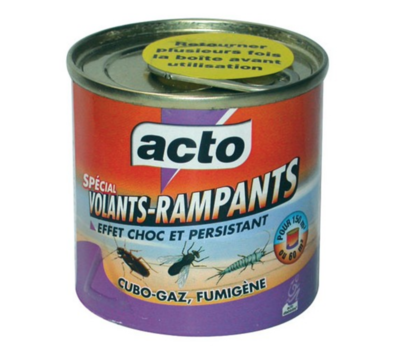 ACTO CUBO-GAZ FUMIGENE INSECTICIDE VOLANTS RAMPANTS PROTECTION INSECTE EFFET CHOC GARDEN HOME SECURITY 3361670140036 COMASOUND KARTEL CSK ONLINE