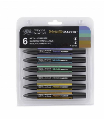 WINSOR & NEWTON PROMARKER 6 PCS METALLIC MARKER FEUTRE TECHNIQUE LOT SET PACK ARTISTE SKETCH DRAW ART 0884955043387 GRAFFITI COMASOUND KARTEL CSK ONLINE