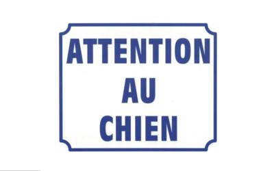 KISIKOL ATTENTION AU CHIEN PLAQUE PVC SECURITE SIGNALITIQUE DECORATION DECOR MAISON SHOP BOUTIQUE BAR COLLECTION  3708569126540 COMASOUND KARTEL CSK ONLINE