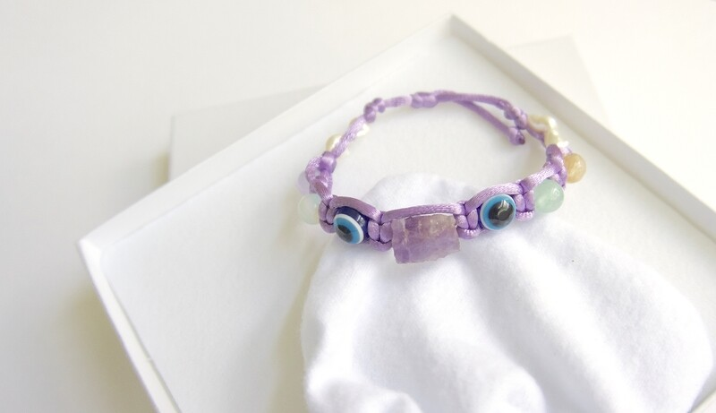 Evil Eye Raw Amethyst Bracelet