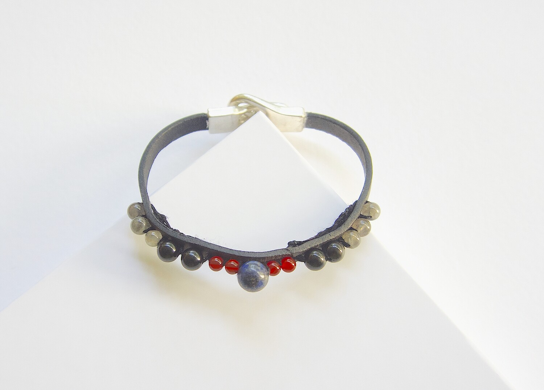 Mens Protection Leather Strap Carnelian Obsidian Bracelet