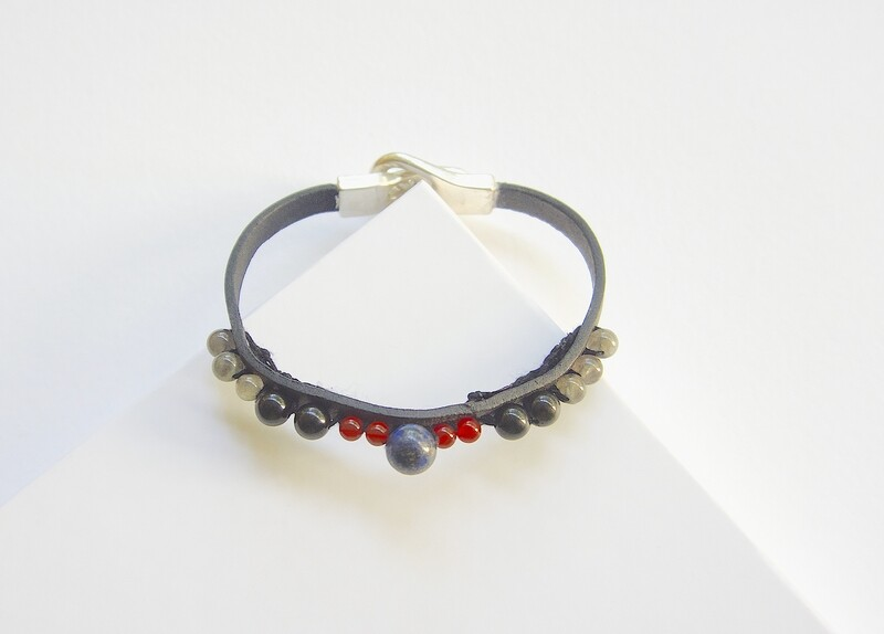 Mens Protection Leather Strap Carnelian Obsidian Bracelet