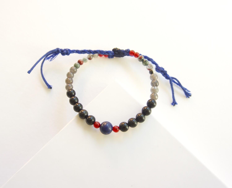 Mens Protection Carnelian Slipknot Obsidian Bracelet