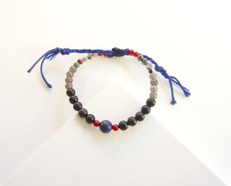 Mens Protection Carnelian Slipknot Obsidian Bracelet