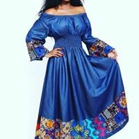 Denim Bell Sleeve Maxi Dress with Multicolored Bottom and Cuffs