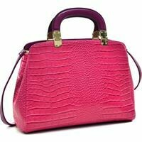 Fuschia Crocodile Purse with Strap and Handle
