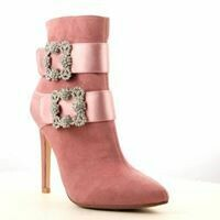 Pink Double Bling Buckle Boot