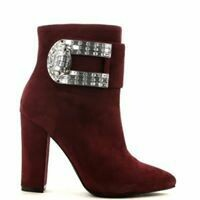 Burgundy Large Bling Buckle Boot