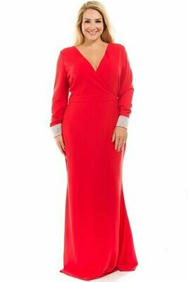 Red Evening Gown With Rhinestone Cuffs