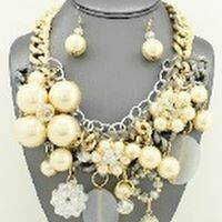 Cream Multi  Size Chunky Necklace Set