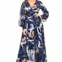 Long Sleeve Light Weight Abstract Flared Maxi Dress
