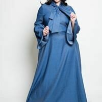 Denim Bell Sleeve Maxi Dress with Neck Tie