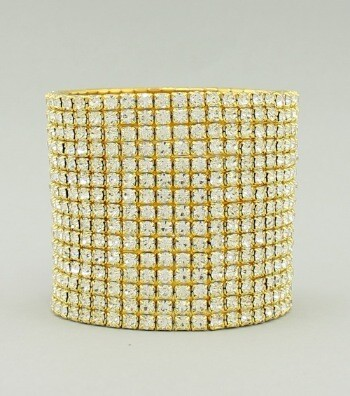 Gold Wide Band Rhinestone Bracelet