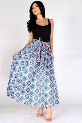 Pink/ Blue Abstract Pattern Maxi Skirt