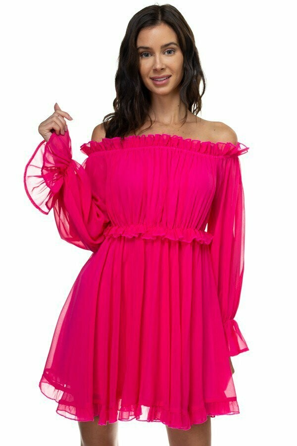 Gorgeous Chiffon Flared Dress with Ruffled Sleeves