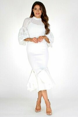 Beautiful Bell Sleeve Flared Bottom Dress
