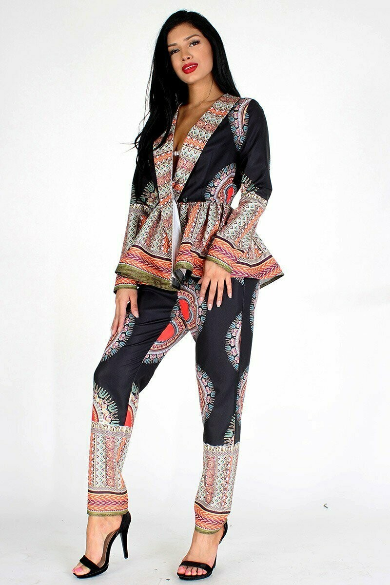 Mandala with patterned border printed 2-piece coordinate set with long sleeve surplice peplum top and straight fit pants