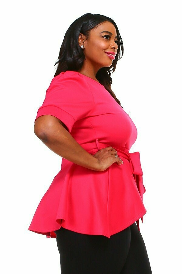 Fuchsia Low Waist Blouse With Belt