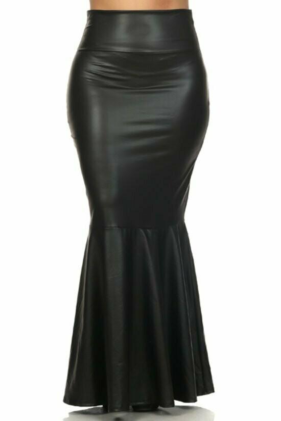Black  Faux leather, pleated, high waist, mermaid style, maxi skirt