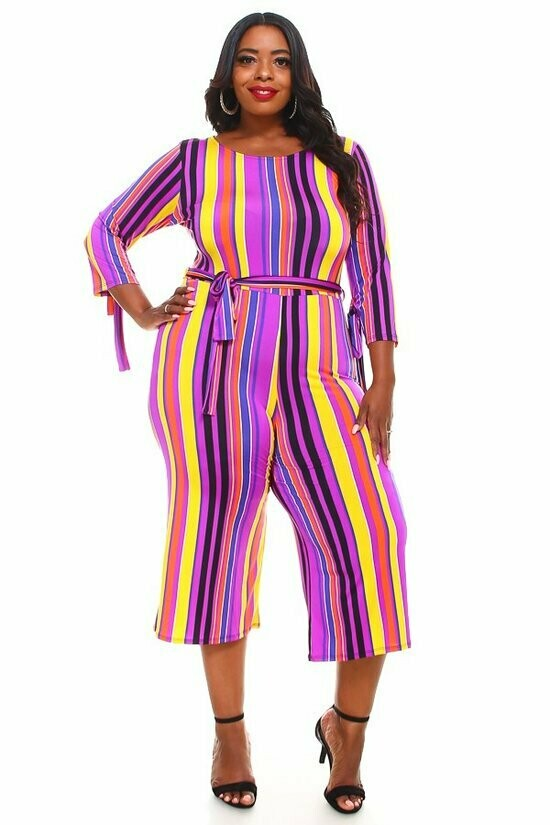 Striped Jumpsuit with Wrist Ties