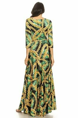 New Style ***Multi-CHAIN printed maxi dress with 3/4 length sleeves, tied waist, and boat neck in relaxed style