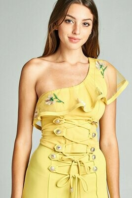 ONE SHOULDER FLOWER EMBROIDERY LACE TOP WITH BUTTON DETAIL