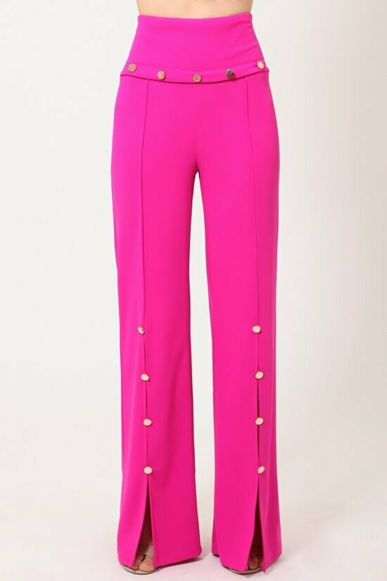 HIGH WAIST PANTS WITH BUTTON DETAILS WITH SLIT DETAIL ON THE BOTTOM