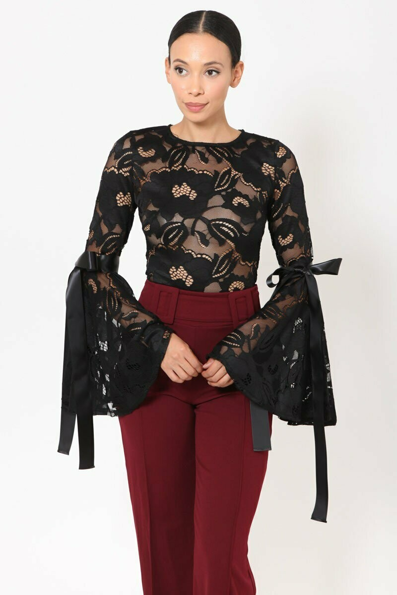 : LACE BELL SLEEVE WITH TIE DETAILED BODYSUIT