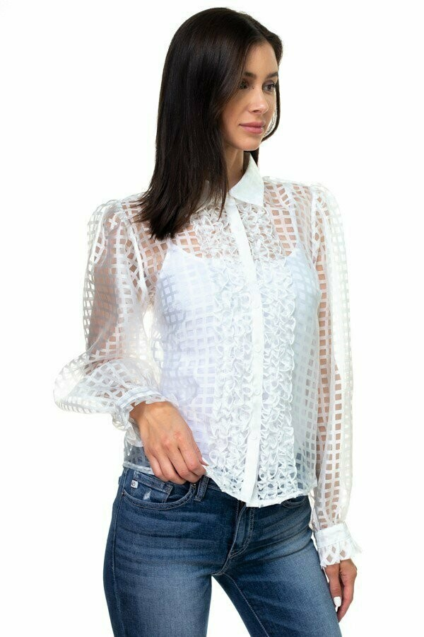 Patterned organza button down top