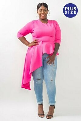 Solid, tunic, peplum top in fitted style with a crew neck, 3/4 length sleeves, ruffles, and asymmetrical hem.