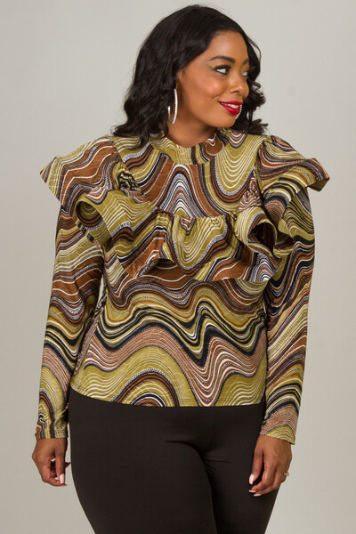 Multicolored Spiraled Ruffled Blouse