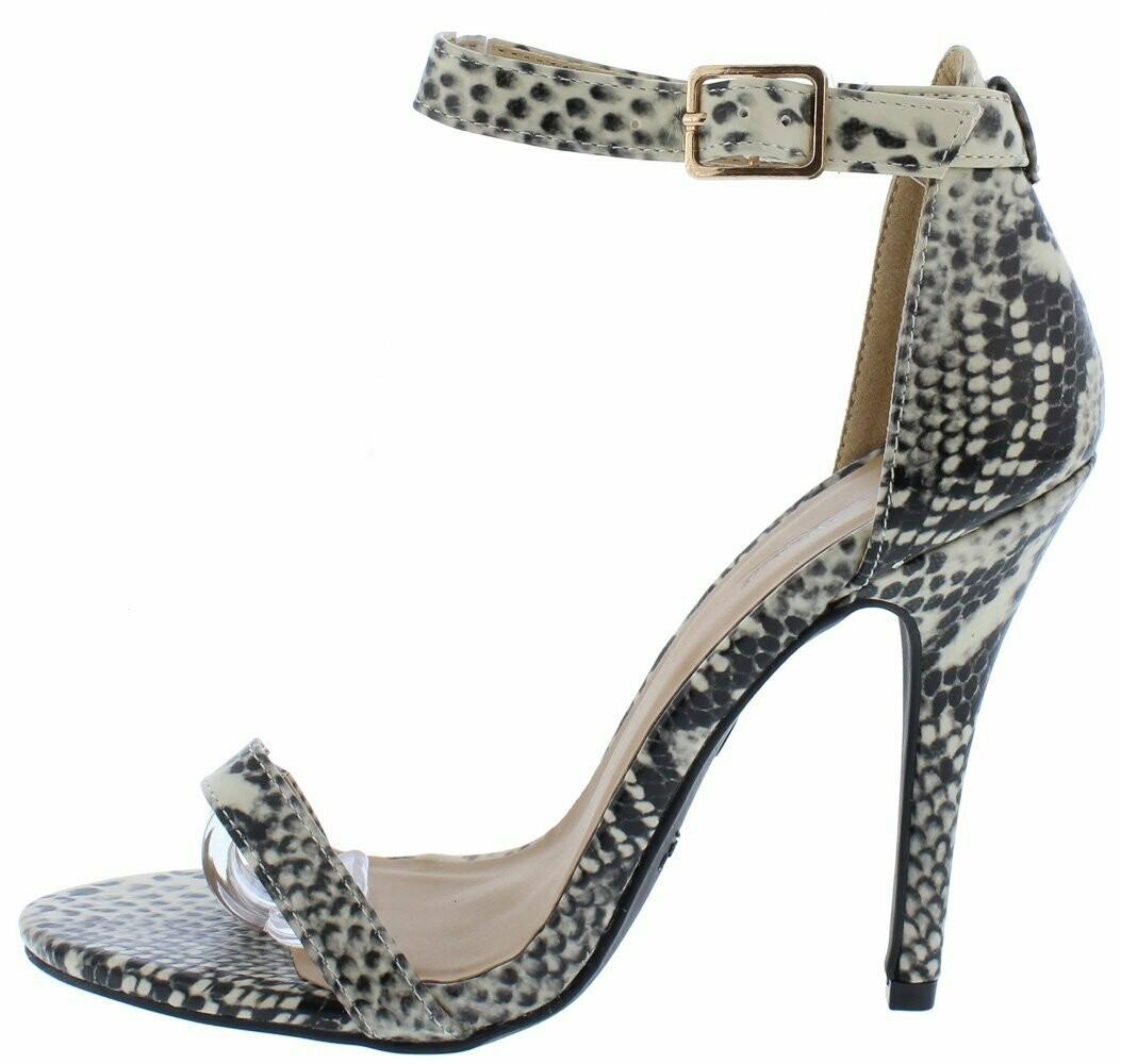 Girltalk11m Beige Snake Open Toe Ankle Strap Stiletto Heel