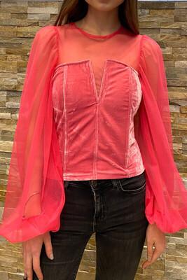 Sheer Top And Bell sleeve Velvet Blouse