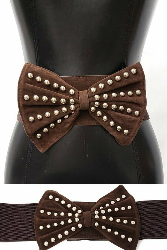 Brown Pearl Bow Belt