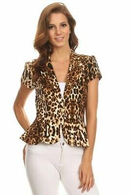 Leopard One Button Stylish Jacket