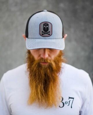 3 of 7 patch hat (beard skull)