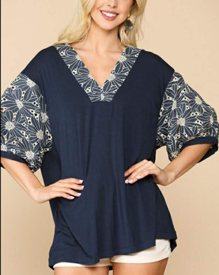 Navy Blue Bubble Sleeve Top