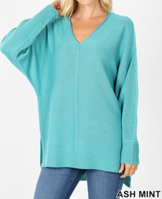 Ash Mint V Neck Sweater
