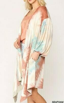Pastel Tie-Dye Open Front Cardigan