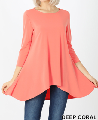 3/4 Sleeve Hi-Low Coral Top