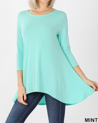 3/4 Sleeve Hi-Lo Top Mint