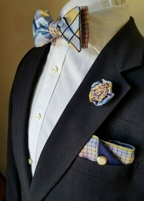 Box Set : Bow Tie, Pocket Square, Rosette Lapel Pin