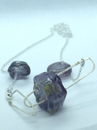 handmade lamp work amethyst glass bead necklace