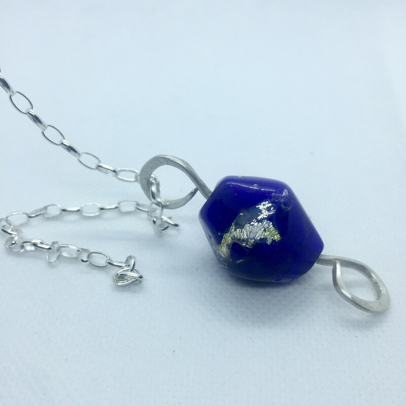 cadmium blue bead pendant