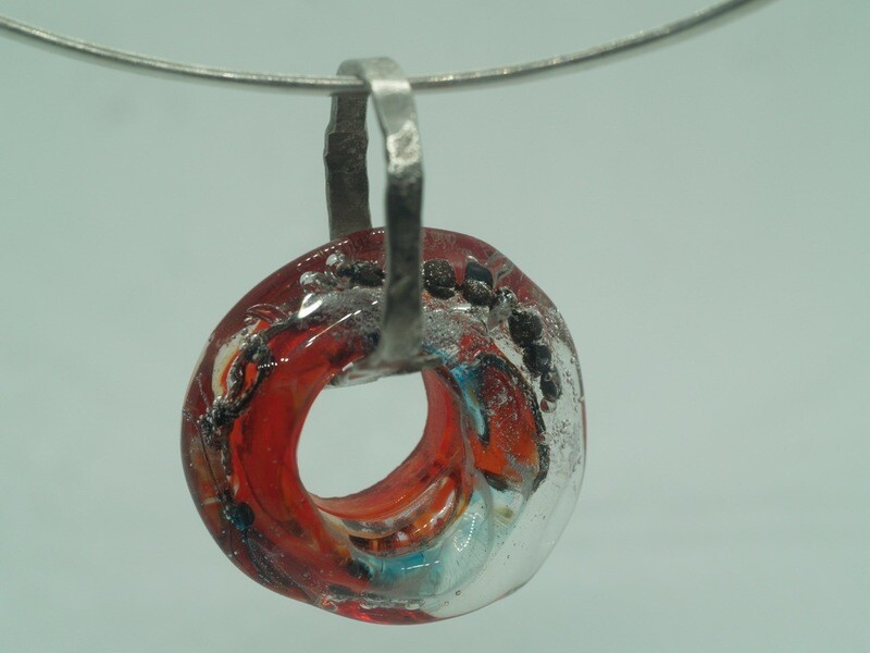 red emubead pendant on silver link