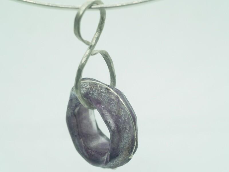 purple emubead on silver link
