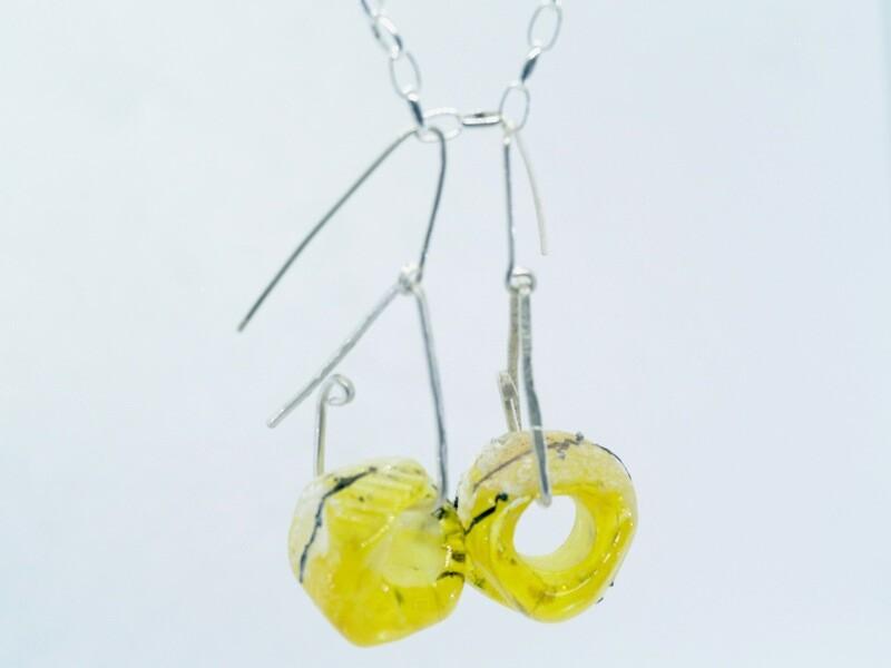 yellow emubeads earrings